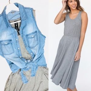 🆕 Fit and Flare Dress, Gray, Various Sizes